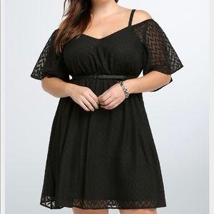 Torrid Black Cold Shoulder Ceveron Dress
